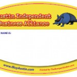 Name tag custom decal stickers for Austin Independent Business Alliance